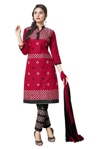 Red Color Cotton Un Stitched Salwar - SFST-SMFALY4002A