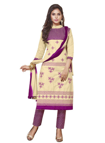 Beige Color Cotton Un Stitched Salwar - SFST-SMFALY4003A