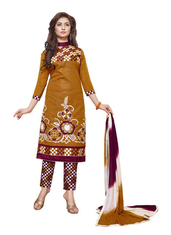 Brown Color Cotton Un Stitched Salwar - SFST-SMFALY4006B