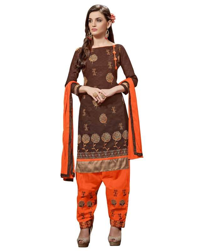 Brown Color Jacquard Salwar