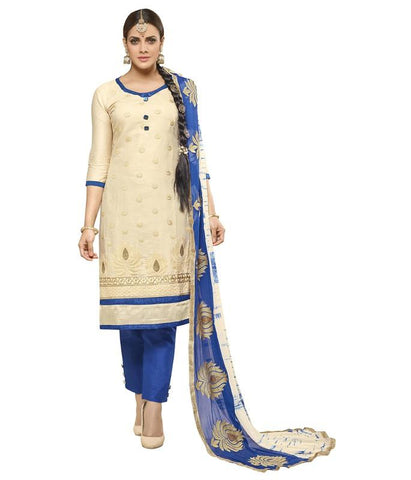Beige Color Cotton Un Stitched Salwar - SFST-SMFAYR2810