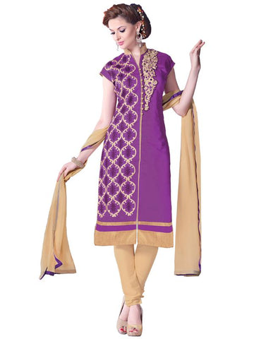 Purple Color Cotton Un Stitched Salwar - SFST-SMFBL3004