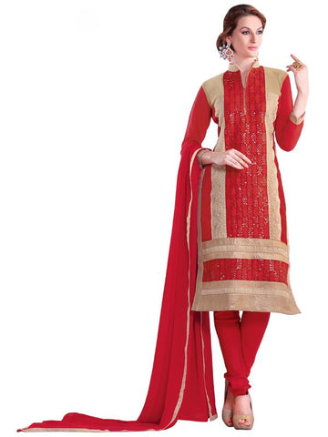 Red Color Cotton Un Stitched Salwar - SFST-SMFBL3009
