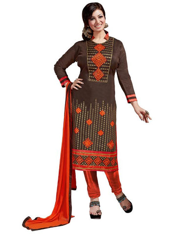 Brown Color Chanderi Cotton Un Stitched Salwar - SFST-SMFDG25704