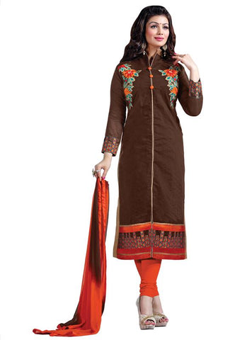 Brown Color Chanderi Cotton Un Stitched Salwar - SFST-SMFDG5312