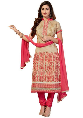 Beige Color Chanderi Cotton Un Stitched Salwar - SFST-SMFEMR5509