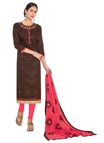 Brown Color Cotton Un Stitched  Salwar - SFST-SMFGRG1007