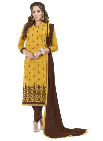 Yellow Color Chanderi Cotton Un Stitched Salwar - SFST-SMFJSC3012
