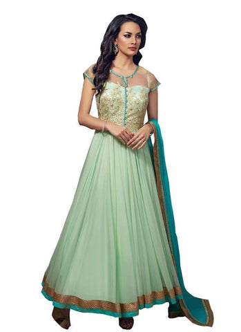 Green Color Net and Chiffon Un Stitched Salwar - SFST-SNSMSF374