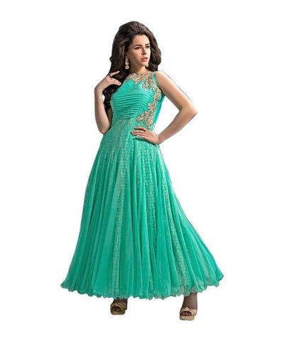 Green Color Net and Chiffon Un Stitched Salwar - SFST-SNSMSF394