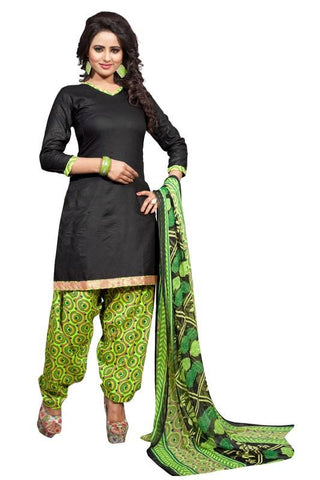 Black Color Cotton Un Stitched Salwar - SFST-SNSMSF402