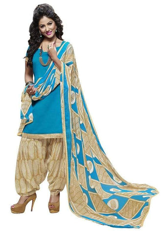 Blue Color Cotton Un Stitched Salwar - SFST-SNSMSF413