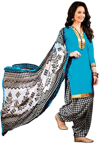 Blue Color Cotton Un Stitched Salwar - SFST-SNSMSF416