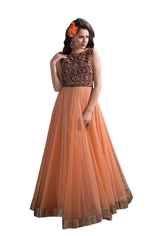 Orange Color Net and Chiffon Un Stitched Salwar - SFST-SNSMSF470