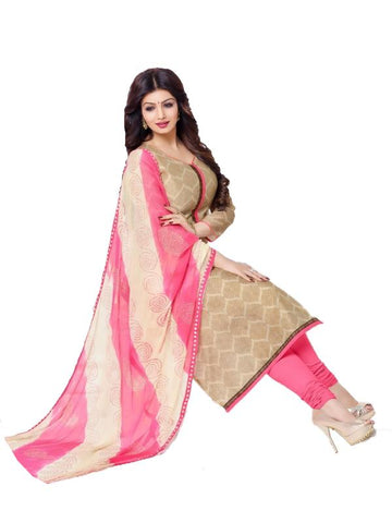 Beige Color Chanderi Cotton Un Stitched  Salwar - SFST-SNSMSF778