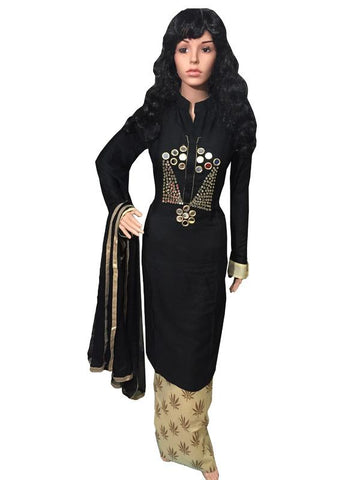 Black Color Cotton Un Stitched  Salwar - SFST-SNSMSF786