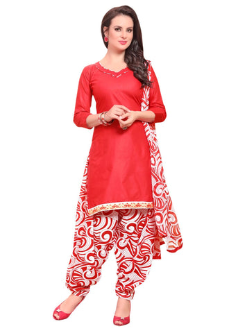 Red Color Cotton Un Stitched Salwar - SFST-VPPH44004