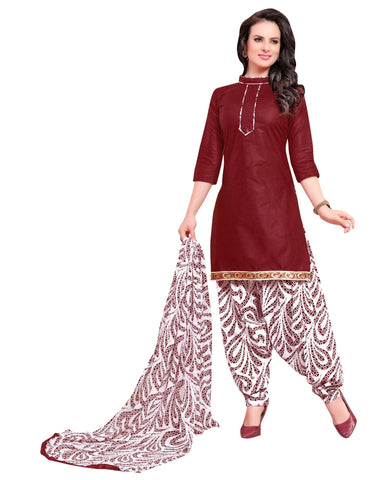 Maroon Color Cotton Un Stitched Salwar - SFST-VPPH44016