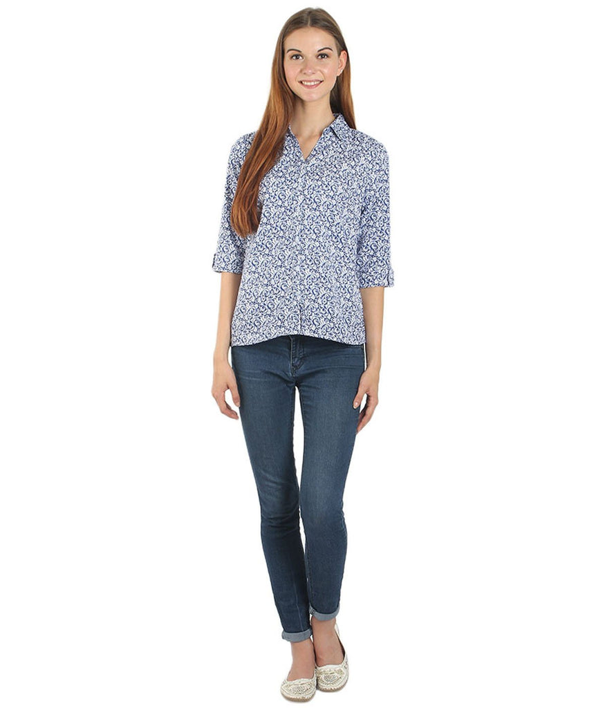White and Blue Color Polyster Women Shirt