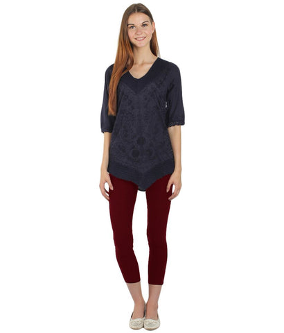 Dark Blue Color Westren  Cotton  Top - SFTOP-452