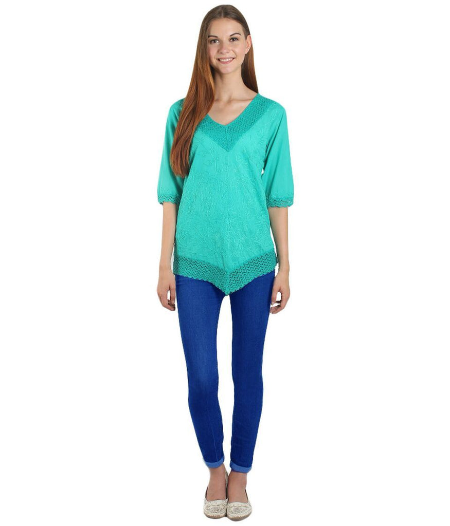 Light Green Color Westren  Cotton  Top