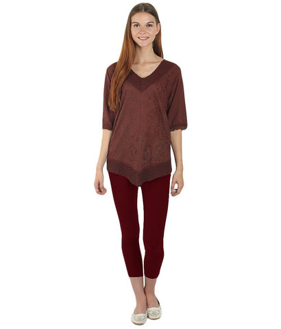 Brown Color Westren  Cotton  Top - SFTOP-455