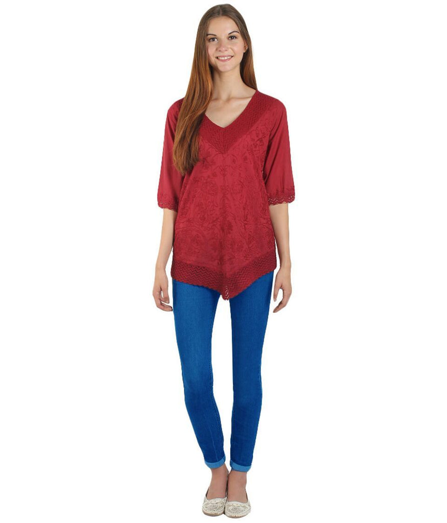 Maroon Color Westren  Cotton  Top