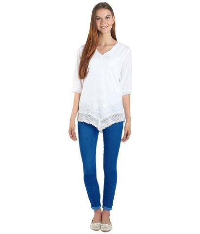 White Color Westren  Cotton  Top - SFTOP-457