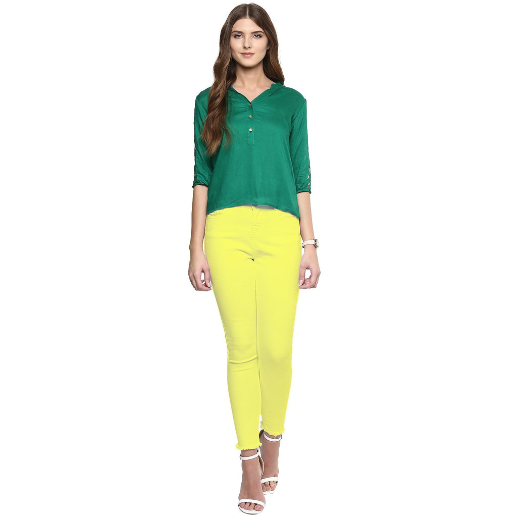 Green Color Rayon Top
