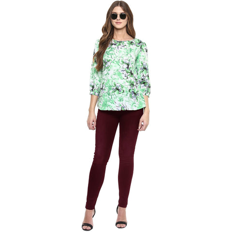 Green Color Polyster Top - SFTOP2471A