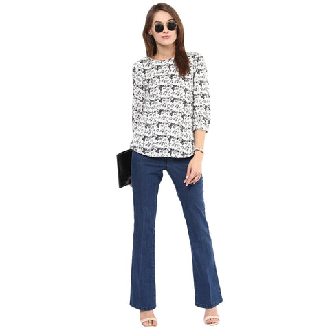 White and Black Color Polyster Top - SFTOP411A