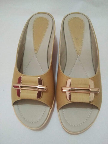 Cream Color PVC Airmex Sole And Synthetic Rexine Women Sandals - SFW-4
