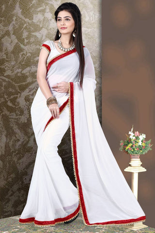 Off White Color Georgette Saree - SG-393