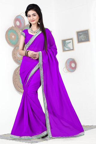 Purple Color Georgette Saree - SG-397