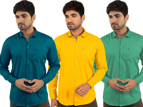 3 Combo Shirts Sea Green, Yellow and Parrot Green - 1ABF-SG-YW-PG