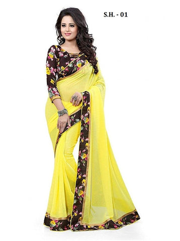 Yellow Color Chiffon Saree - SH-01