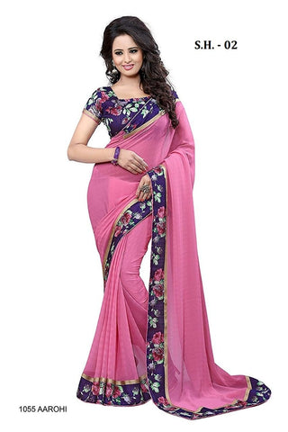 Pink Color Chiffon Saree - SH-02