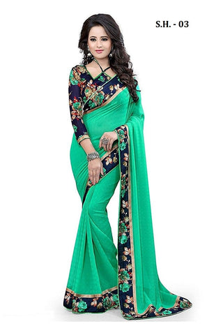 Green Color Chiffon Saree - SH-03
