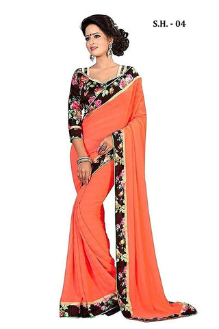 Orange Color Chiffon Saree - SH-04