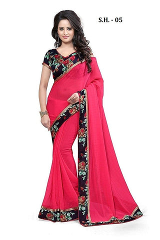 Red Color Chiffon Saree - SH-05