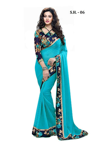 SkyBlue Color Chiffon Saree - SH-06