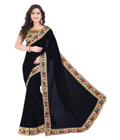 Black Color Chiffon Saree - SH-07