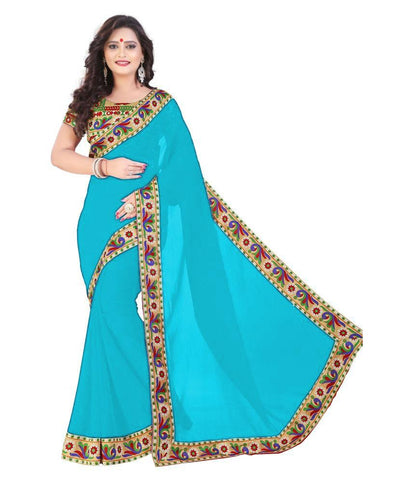 SkyBlue Color Chiffon Saree - SH-08