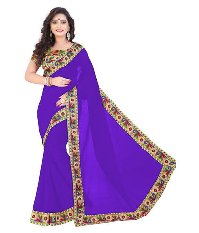 Blue Color Chiffon Saree - SH-10