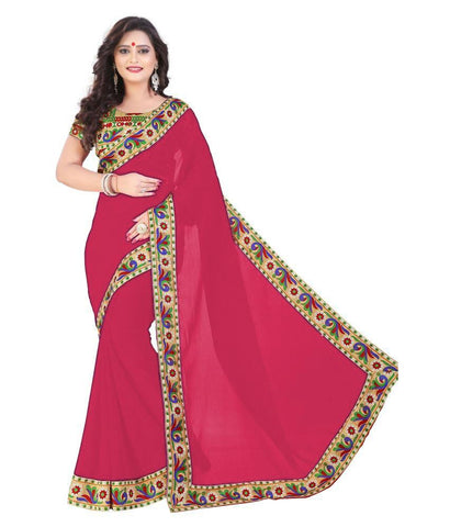Rani Color Chiffon Saree - SH-12