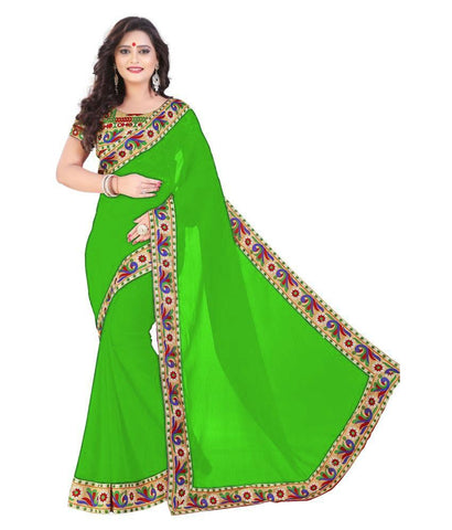 Green Color Chiffon Saree - SH-13