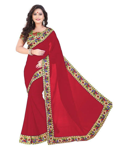 Red Color Chiffon Saree - SH-14