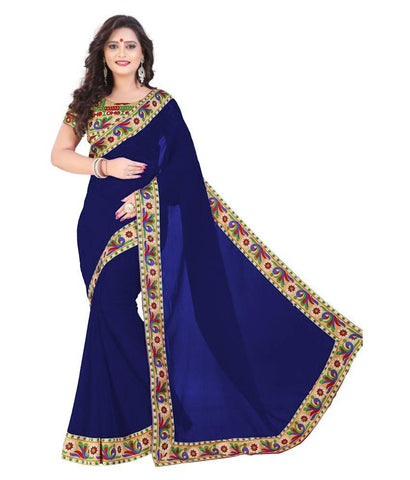 RoyalBlue Color Chiffon Saree - SH-15