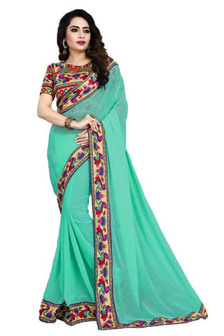 Sea Green Color Chiffon Saree - SH-16