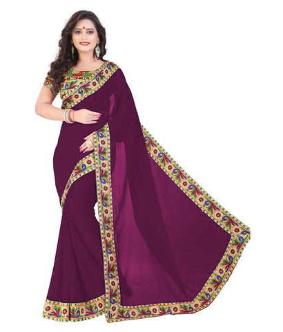 Purple Color Chiffon Saree - SH-17